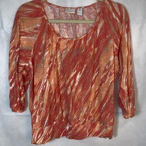 EUC CHICOS Womens sz 2 blouse orange 100%rayon